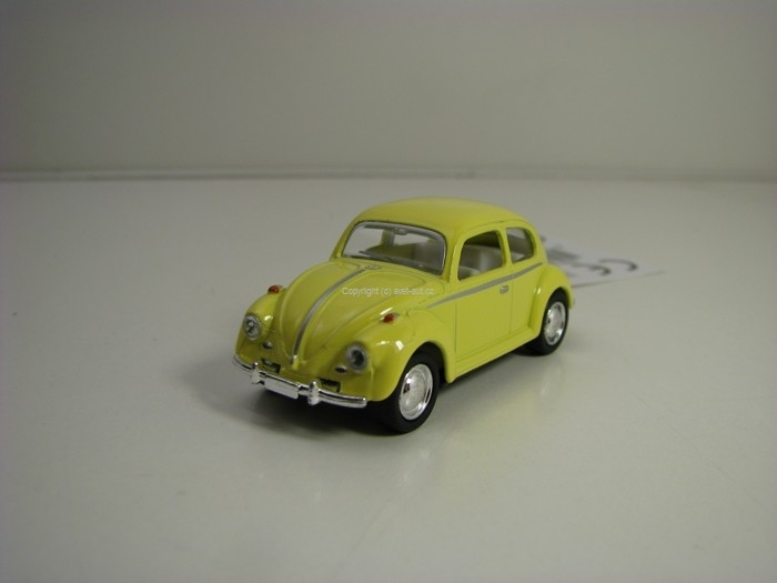 Volkswagen Beetle 1967 yellow Pull Back 1:64 Kinsmart